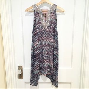 Free People Printed Tunic Top Blouse Sequined S